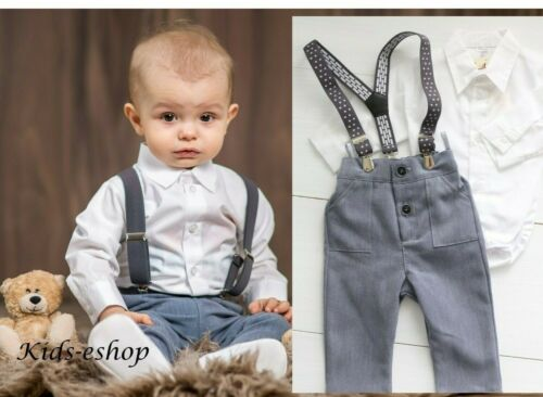 Baby Boy Christmas Smart Outfit GreyTrousers Braces White with Bodyshirt