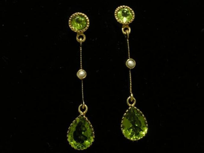 E125  Gorgeous Genuine 9ct Yellow gold NATURAL Peridot & Pearl DROP Earrings
