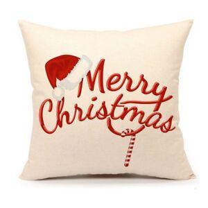 Red-Merry-Christmas-Pillow-Cover-Decor-Throw-Cushion-Case-Home-Decor-18-x-18-034