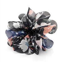 Black Floral Print Layered Flower Hair Beak Clip Slide Fascinator - Accessories