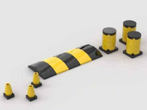 LEGO Freeway Impact Barrels Hazard Barricades Safety Cones Speed Bump Traffic