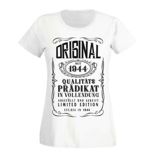 3XL T-Shirt 75 Geburtstag Geschenk Idee Original Prädikat 1944 75ter Damen XS