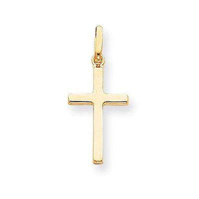 14k Solid Yellow Gold Hollow Cross Pendant - 1356A - SKU #122127