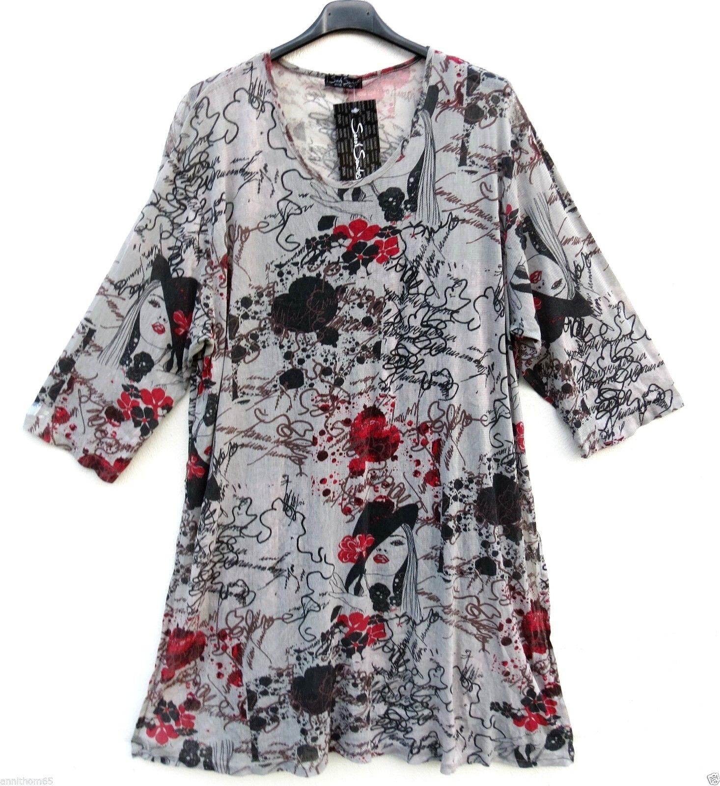 SARAH SANTOS Sommer Tunika Shirt Tunic Tunique Tunica XL 48 50 Lagenlook