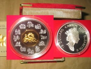 2000 Canada Year of The Dragon $15 Lunar Proof Silver Coin with Case /& COA