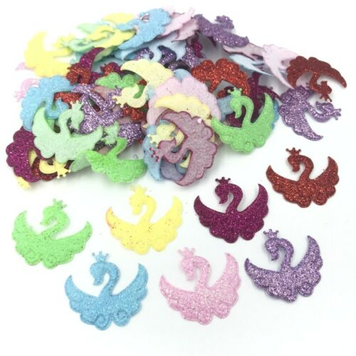 500pcs Mix Colors Glitter Sequins Swan Felt Appliques DIY Sewing Supplies 32mm