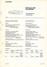 SIEMENS Service Manual Anleitung Tuner RH 666 B1580