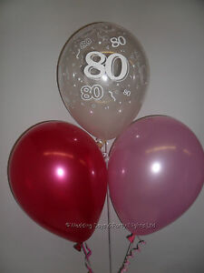 Image Is Loading 10 Table Pink Kit 80th Birthday Helium Balloons