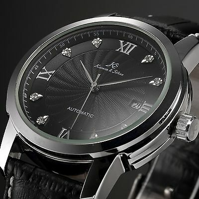 KS Black Rhinestone Automatic Mechanical Date Analog Men's Leather Band Watch