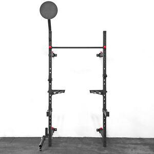 Wall mount foldable squat rack w pullup bar wall ball target
