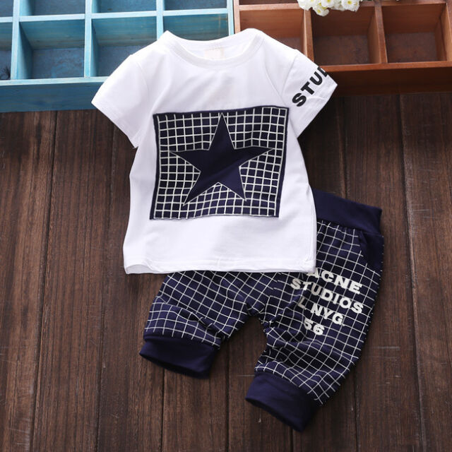 Baby Boy Kid Summer Short Sleeve Shirt Sportswear T-shirt Top Short Pants Outfit
