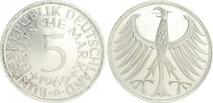 5 DM J.387 Silver Currency Coin 1969 G F.St 39914