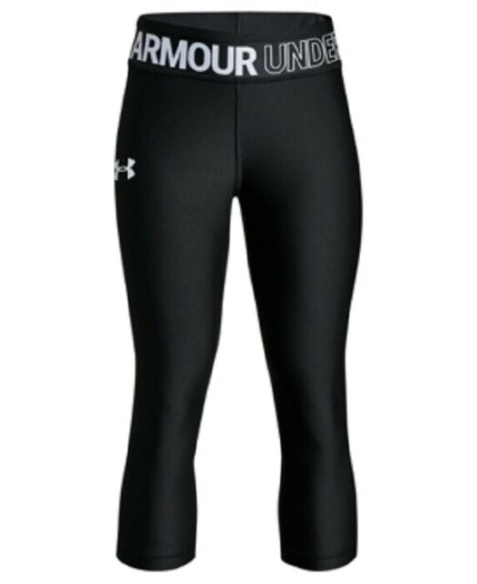 Girl/'s Under Armour Black w//White UA Written All Over Spandex Pants Sz 4 /& 5-NWT