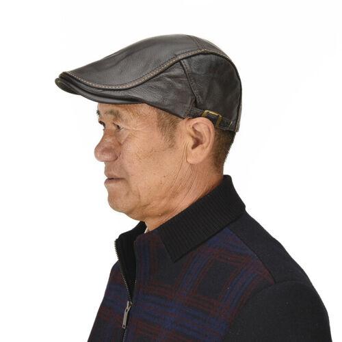 Hommes cuir véritable chapeau béret plat Newsboy Cap Vachette Gatsby Taxi Vintage
