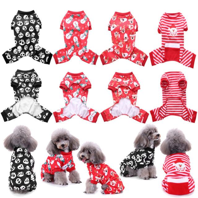 46d9f030882 Christmas Pet Dog Jumpsuit Pajamas Puppy Cat Coat Clothes Xmas Cute Costume