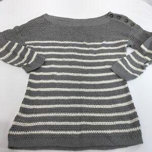 7334eb2ef875 Ann Taylor LOFT Women s Sweater Open Knit Gray Stripe Button ...