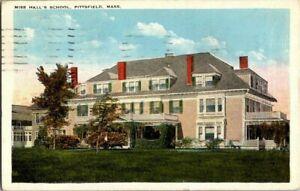 1923-PITTSFIELD-MASS-MISS-HALL-039-S-SCHOOL-POSTCARD-KK2