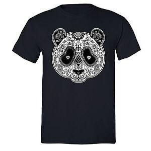 PANDA-Sugar-Skull-SHIRT-Day-of-the-Dead-Dia-Los-muertos-Mexico-T-SHIRT-tee-Black