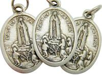 Mrt 3 Lot Our Lady Of Fatima Catholic Saint Mary Medal Silver Plate 3/4 Italy
