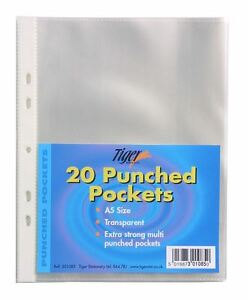 100 x A5 Plastique Portefeuilles forte verre clair perforée Classeur Poly Pockets-afficher le titre d`origine hW3dksly-07194449-598403333