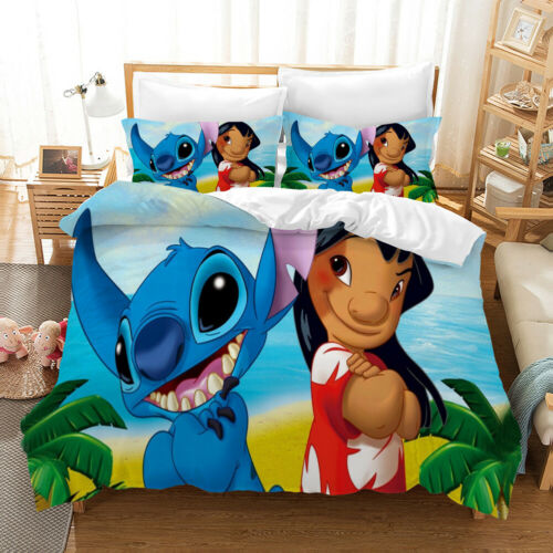 Movie Lilo /& Stitch 3D Cartoon Bedding Sets 2PC//3PC Of Duvet Cover /& Pillowcase*
