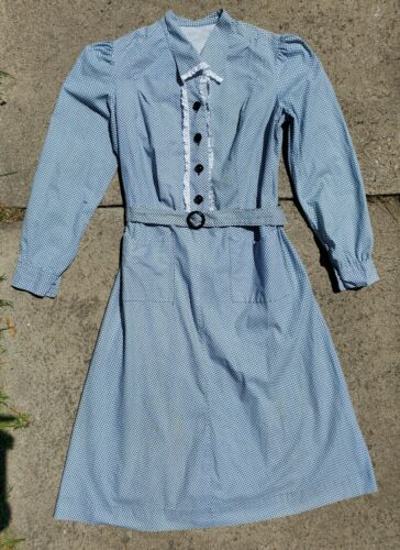 VTG  30s 40s  Blue White Eyelet Long Sleeve Dress
