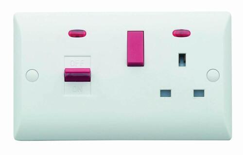 Superswitch SW26 45 A Pour Cuisinière Four interrupteur et prise de courant avec Fluo-Blanc