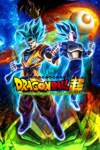 Dragon Ball Super Poster Goku Vegeta Blue Broly Movie 12inx18in Free Shipping
