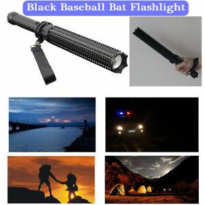 HOT✓Black Baseball Bat Torch LED Flashlight Waterproof Security USB Super Bright
