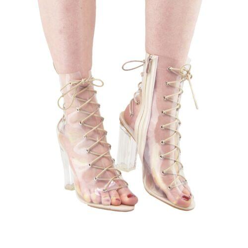 Ladies Clear Perspex Lace Up Block Heel Party Celeb Shoes Black Nude UK3-UK8