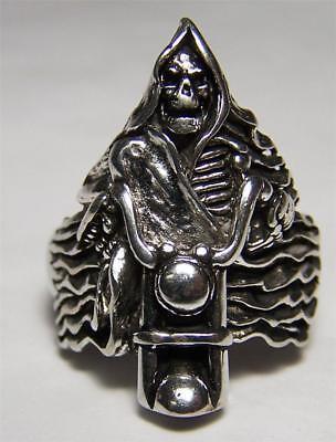 GRIM REAPER BIKE BIKER RING BR143 HEAVY silver NEW novelty fashion jewelry men