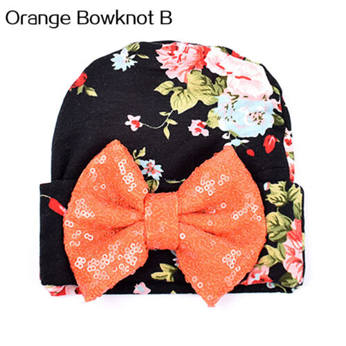 Baby Infant Girl Bow Beanie Floral Comfy Turban Hospital Cap Hat Wrap Welcome