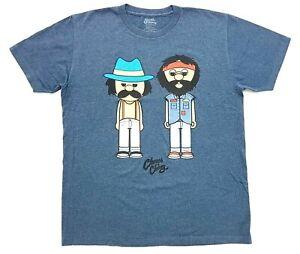Cheech &  Chong Cartoon Tee Heather Blue Size L Mens T-Shirt