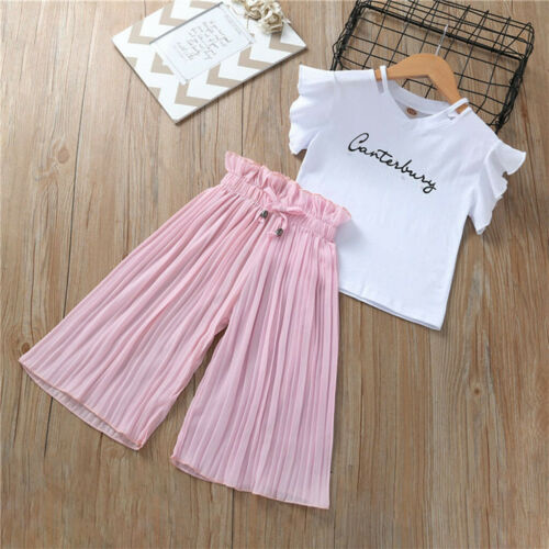 Toddler Kids Baby Girls Letter T Shirt Tops+Ruffle Loose Pants Outfits Clothes