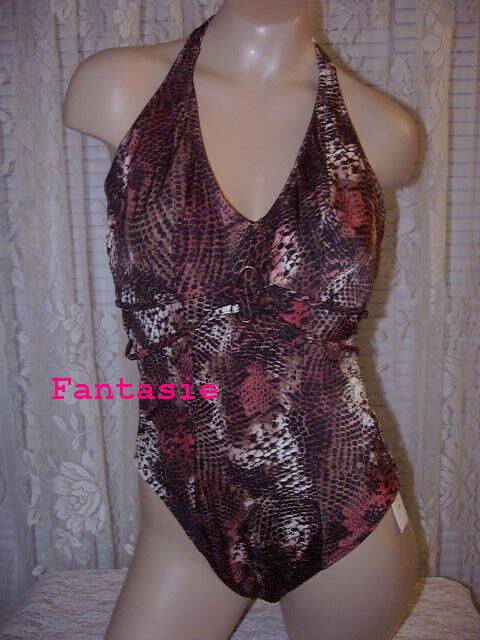 Fantasie Conga Collection Collection Collection 36D Halter Swimsuit Animal Print New 73f5fb
