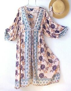 New~Peach & Cream Teal Kimono Duster Peasant Blouse Boho Top~Size Small M S