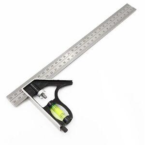 12-034-Aluminium-Combination-Square-Stainless-Steel-Spirit-Level-Measuring-Tools-SL