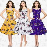 UK Womens 40's 50's Vintage Audrey Style Rockabilly Retro Floral Tea Party Dress