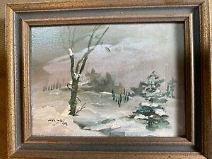 "Vintage Small Atlas 1979 ""Landscape In Winter Scene"" Oil Painting -Signed/Framed"