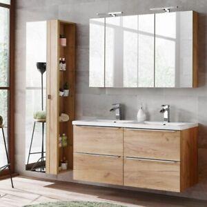 Details zu Badmöbel Set Eiche Doppel Waschtisch Keramik LED Spiegelschrank  Hochschrank