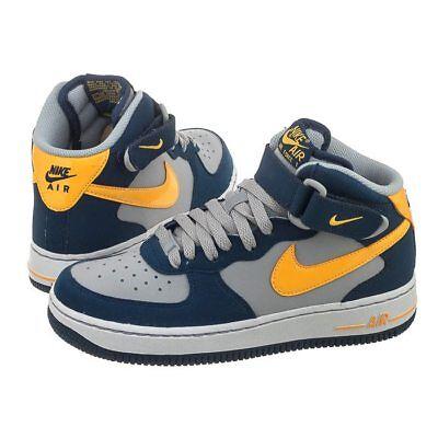 Junior's Nike Air Force 1 Mid (Gs) bleu gris jaune Trainer 314195 027 | eBay