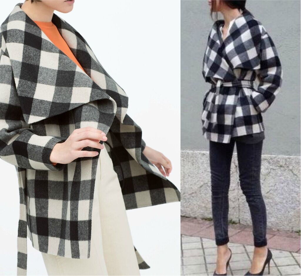 ZARA Hand Made Laine Veste Manteau Kimono Cape Checked Wool veste Coat Taille M