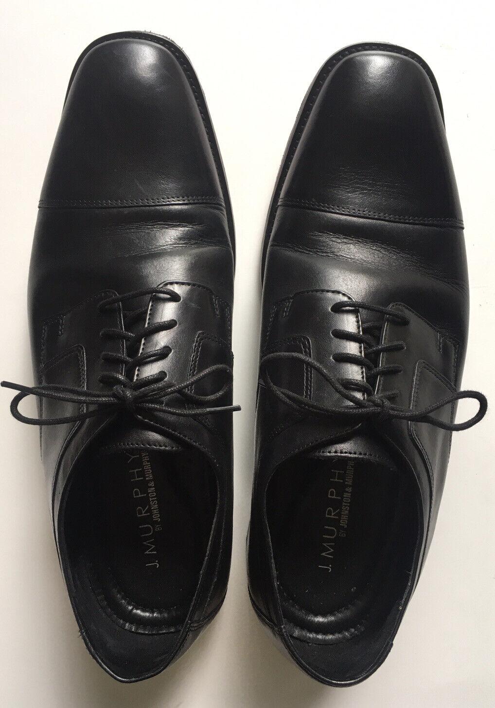 Johnston & Murphy MN SZ 12W BLACK ALL LEATHER LACE UP DRESS SHOES CAP TOE