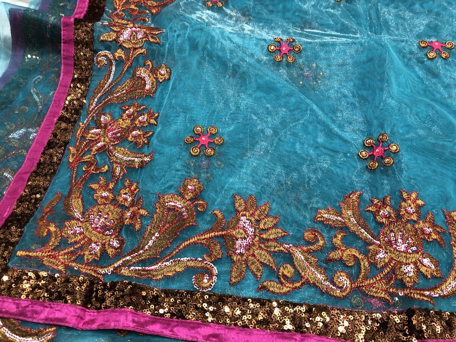 LATEST INDIAN ASIAN BRIDAL SAREE SARI WITH SHORT SLEEVE BLOUSE