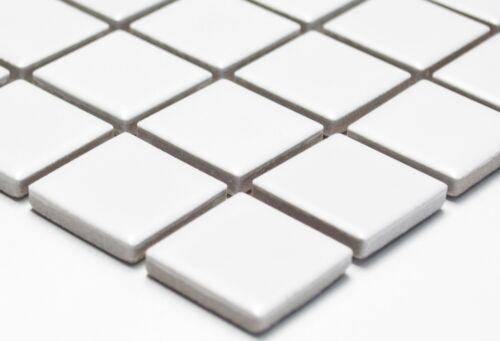 Mosaik Fliese Keramik weiß matt Fliesenspiegel Küche Duschwand BAD WC 18-0111