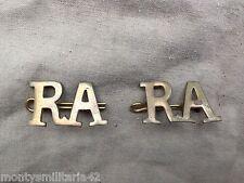 Original WW1/WW2 British Army Royal Artillery (RA) Brass Shoulder Titles