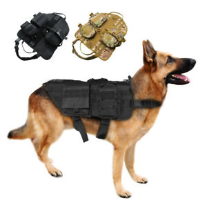 Military Molle Dog Harness K9 Tactical Vest with 3 Bags for Working