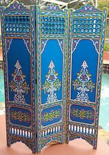 Blue  Moroccan Room Wood Divider Screen Partition Panel Wall   Separation