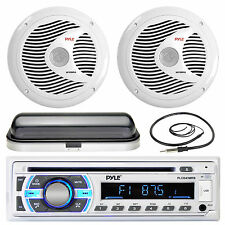 "6.5"" Marine 150W Speakers, Pyle Bluetooth AUX USB Radio, Antenna, Radio Cover"