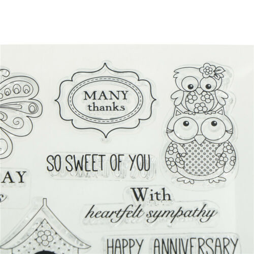 Transparent Clear Silicone Stamps owl for DIY Scrapbooking Card Making HF